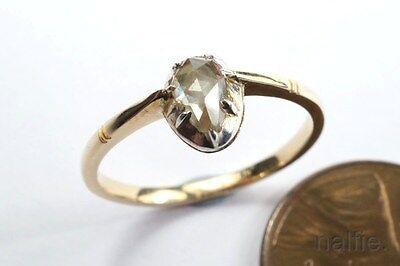 LOVELY ANTIQUE 15K GOLD GEORGIAN PERIOD ROSE CUT PEAR SHAPE DIAMOND RING c1800