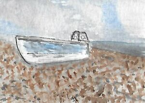 ACEO-ATC-Original-Watercolour-Painting-Beached-Boat-Seascape-Beach
