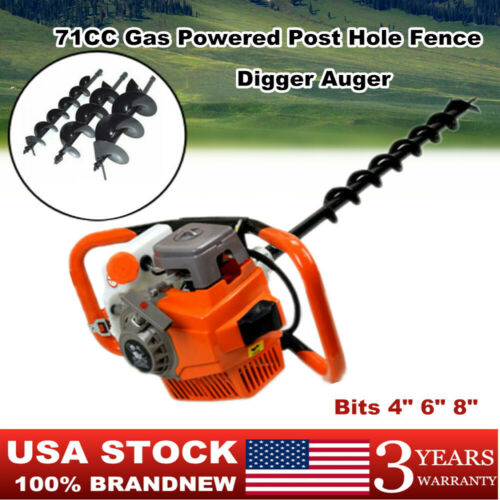 """Drill Bits 4/"""" 6/"""" 8/"""" US 2-stroke Gas Powered Post Hole Fence Digger Auger 71CC"""
