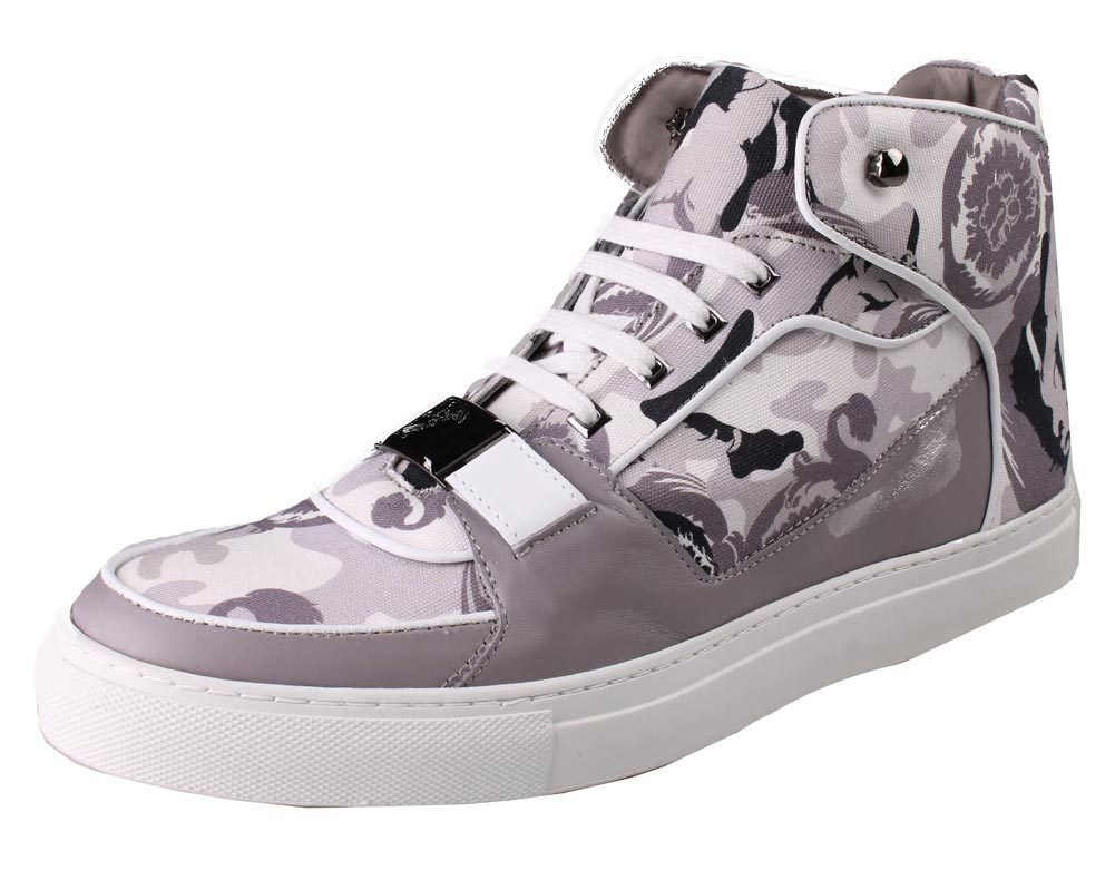 Versace Collection V900357 Grigio Camo Print Hi Top Canvas Fashion Scarpe da Ginnastica Shoes