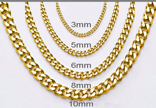 One Day Ship Women Mens Stainless Steel Necklace Curb Gold Chain Bracelet 10mm 32 Inch Ebay