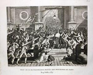 Rivoluzione-Francese-1789-Hotel-Di-Citta-Parigi-Rara-Stampa-Flesselles-Prevosto