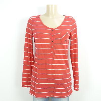 Esprit Feinstrick Pullover Streifen Knopfleiste Rot Gr. Xl