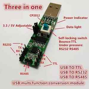 Details about 3IN1 5V 3 3V serial converter board USB TO RS232 TTL RS485  Serial module CP2102