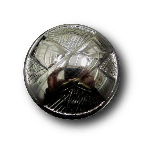 2031t 5 extravagante metallic chromfarbene Halbkugel Knöpfe mit großem X Motiv