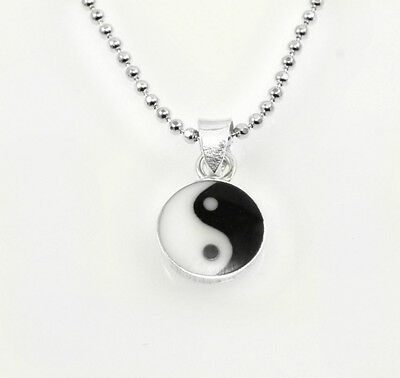 Two Sizes 925 Sterling Silver Yin Yang CZ Encrusted Crystal Pendant