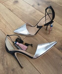 a5df44ad6da NEW  285 JCrew Roxie Crackled Leather Ankle Toe Pumps Black Silver ...
