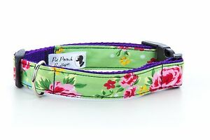 Green-Floral-Cath-Kidstonesque-Handmade-Puppy-Dog-Collar-OR-Lead-Choice-of-sizes