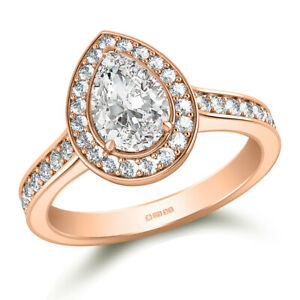 1.80 Ct Pear Cut Moissanite Engagement Ring Solid 18K Rose Gold ring Size 9.5