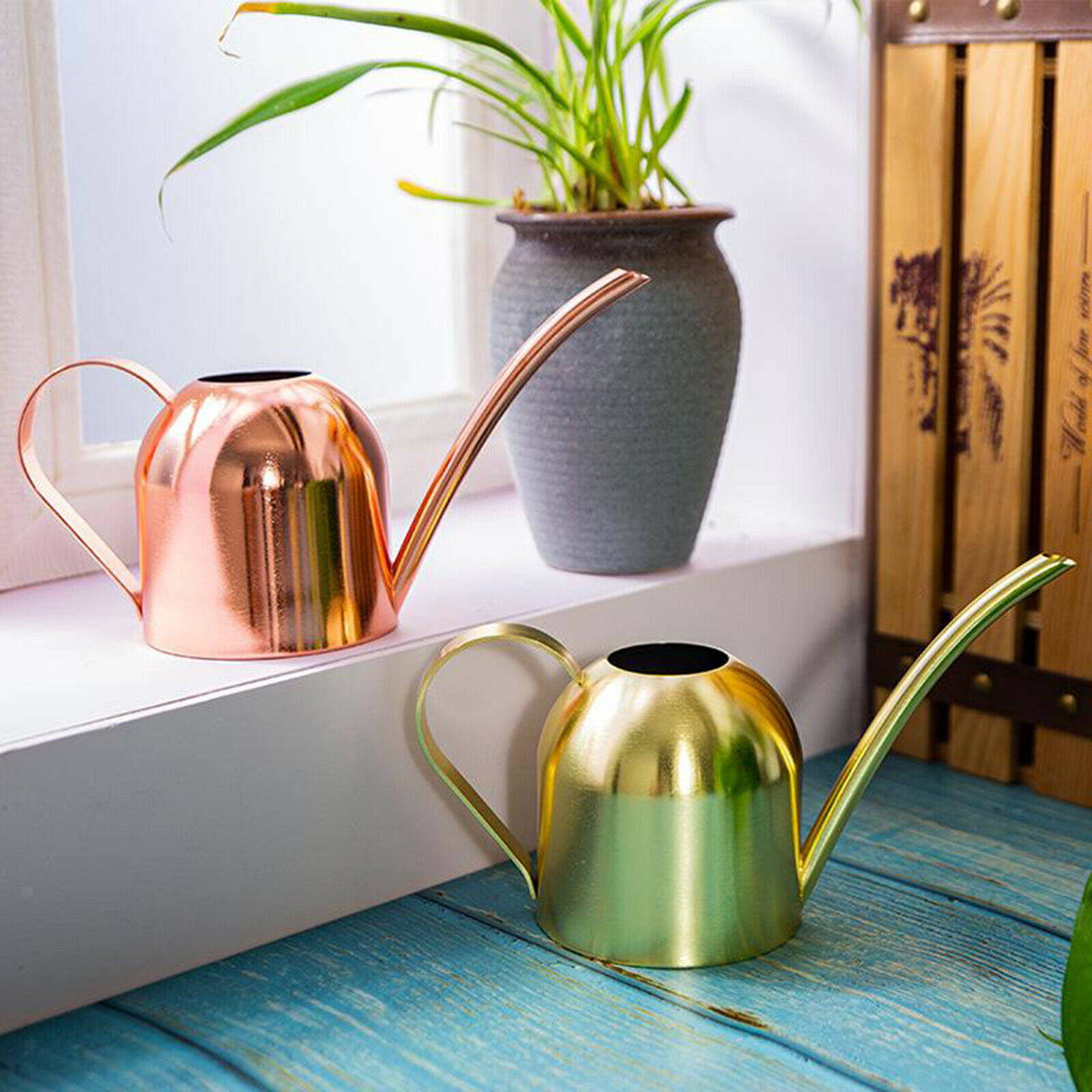 500ml Inside Small Stainless Steel Watering Can Pot Long Spout Plant Tool