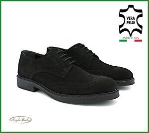 Scarpe-Uomo-Eleganti-Nere-da-Cerimonia-Derby-Oxford-in-Camoscio-Francesine-Pelle