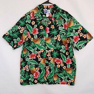 RJC VTG HERREN SZ XL Hawaii Camp Shirt helle Aloha Hibiskus Blumen Ananas