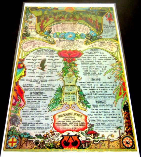 TRIDENT RESTAURANT MENU PSYCHEDELIC ARTIST LARRY NOGGLE ROCK STARS MARIJUANA LSD
