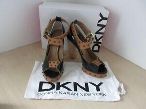 DONNA-KAREN-NEW-YORK-YANKY-SHOE-4-LENORE-INDIGO-TAN-LEATHER-SHOES-UK-5-5-BNIB