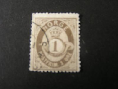 Scott # 35 .1o Value Black Brown 1882-93 Post Horn & Crown Issue Used Lustrous Norway
