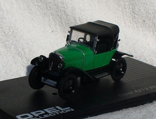 OPEL 4//12 PS fogliame Rana 1924-1926 VERDE 1:43 Ixo//Altaya modello di auto//DIE-CAST
