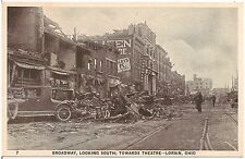 Broadway Looking South After Disaster in Lorain OH Postcard