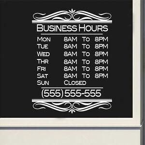 Custom Business Fancy Store Hours Sign Vinyl Decal Sticker Window - Custom vinyl decal stickers for business