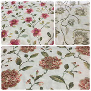 Image Is Loading Off White Embroidered Linen Drapery Fabric Fl Jacobean