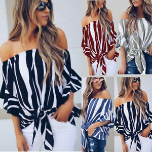 Womens-Bell-Sleeve-Off-Shoulder-Tops-Ladies-Summer-Casual-Loose-T-Shirt-Blouse