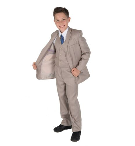 Beige Checked Boy Suit Boys 5 Piece Wedding Suit Page Boy Party Prom 2-12 Year