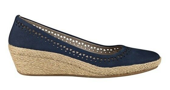 Easy Spirit Derely wedge pumps espadrilles Leder navy Blau sz 10 Med NEU