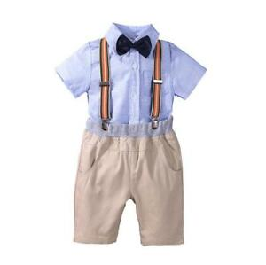 Kids Baby Boys Summer Gentleman Bowtie Short Sleeve Shirt+Suspende<wbr/>rs Shorts Set