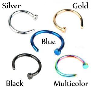 Stainless Steel Nose Hoops 18 Gauge Black Blue Gold Multi Or