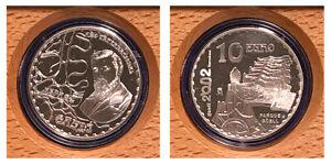 10-SILVER-EUROS-SPAIN-PLATA-ESPANA-2002-ANO-GAUD-PARQUE-GUELL-PROOF