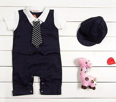 Baby Boy Wedding Tuxedo Formal Suit Romper Bodysuit Outfit Cloth+HAT  3 6 12 18M