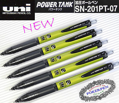 5 pcs New UNI-BALL Power Tank SN-201 PT-0.7mm ball point pen YELLOW barrel