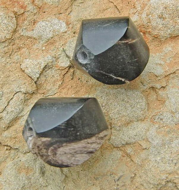 2 Stck Hornperlen gedrehte Oliven 1,7x1,9cm Loch groß