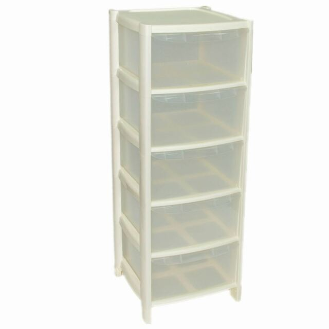 5 Plastic Storage Drawers Large Towers Chest Unit With Wheels Toys Clothes  Cream