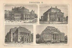 Radient B0472 Teatri Europei - Vedute - Xilografia D'epoca - 1903 Vintage Engraving