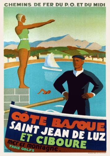 Art Déco Français Affiche de Voyage st Jean Luz et Ciboure Côte Basque 1930s