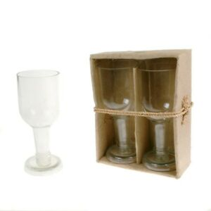 Details About Recycled Wine Glasses Gift Box Set Of 2 Clear Stems Handcrafted In Tanzania Eco