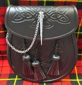 Black 3 Tassel Leather Sporran with Pin Closure for Kilts Includes Chain Belt