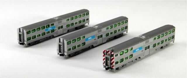 KATO 1068702 N Scale Bi-Level 3 Car Set Chicago Metra w Book Case106-8702