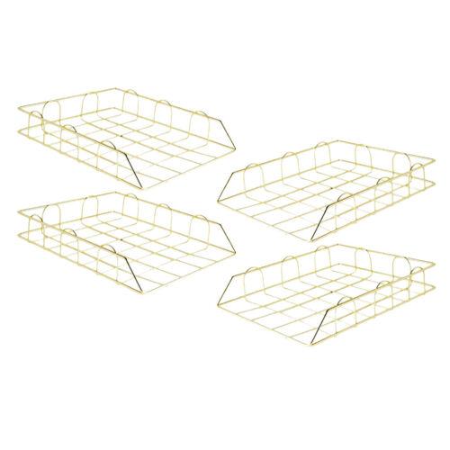 4x Metall Briefablage Stapelbare Dokumentenablage Schreibtisch Organizer für