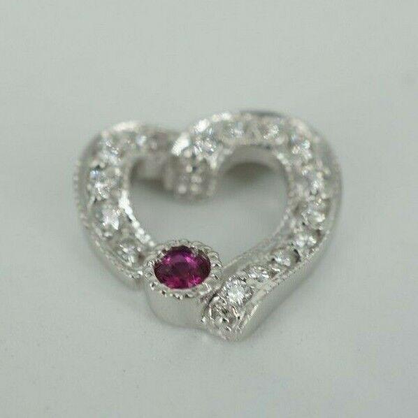 Beautiful Women's Ruby & Diamond White gold Pendant