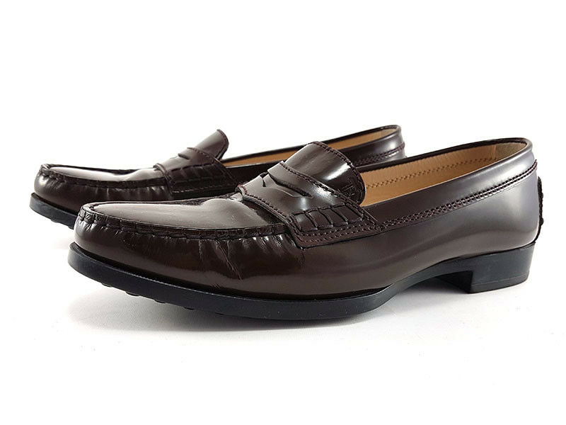 TOD'S Penny Loafers in Brown Brown Brown Leather, Women's Size US 6   EU 36 5d4e66