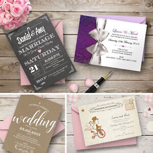 Personalised-Wedding-Day-or-Evening-Invitations-Invites-Inc-FREE-Envelopes