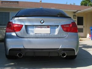 bmw e90 e91 rear bumper m pack sport carbon diffuser performance twin exhaust ebay. Black Bedroom Furniture Sets. Home Design Ideas