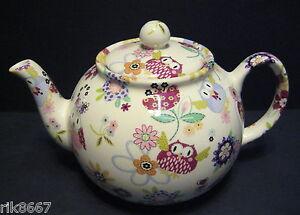 Heron-Cross-Pottery-Owl-Chintz-6-8-Cup-English-Tea-Pot