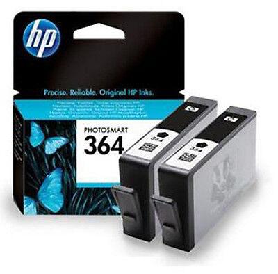2x Original Genuine HP 364 Black Ink Cartridges for HP Photosmart 5520 Printer