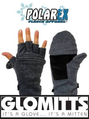 Black sm med Hot Headz Polar Ex Glomitt Fold Back Fleece Mitts color lg