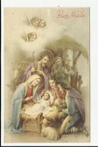 Immagini Sacre Di Buon Natale.Dettagli Su Antica Cartolina Di Buon Natale Sacra Famiglia Gesu Bambino Maria Angeli