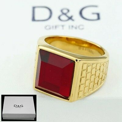 DG Men/'s Stainless Steel Silver Red.CROSS.Oval CZ,Rings 8,9,10,11,12 13,,BOX