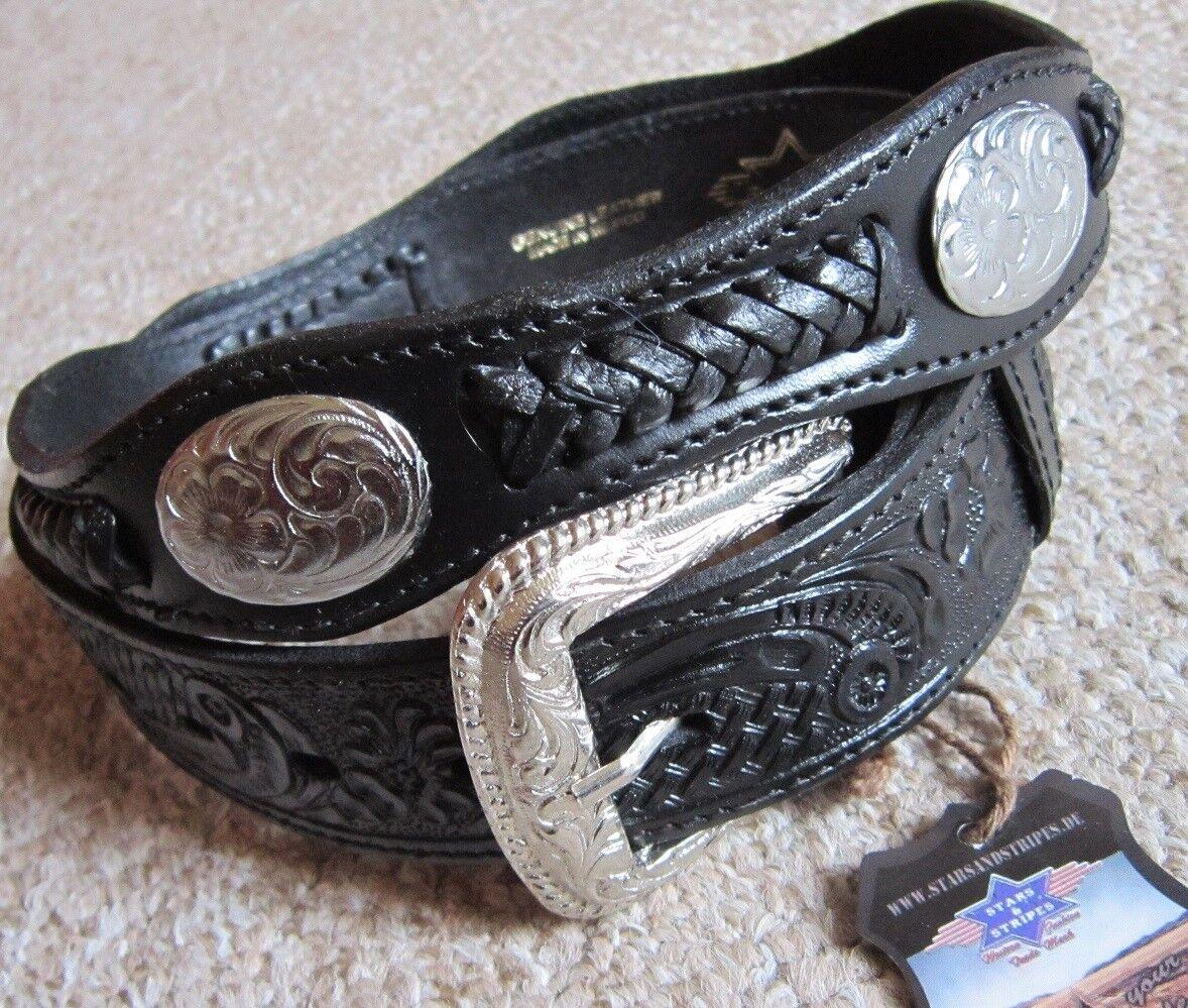 Biker Ledergürtel mit Druckknöpfen Conchos Wechselgürtel schwarz 44 Inch