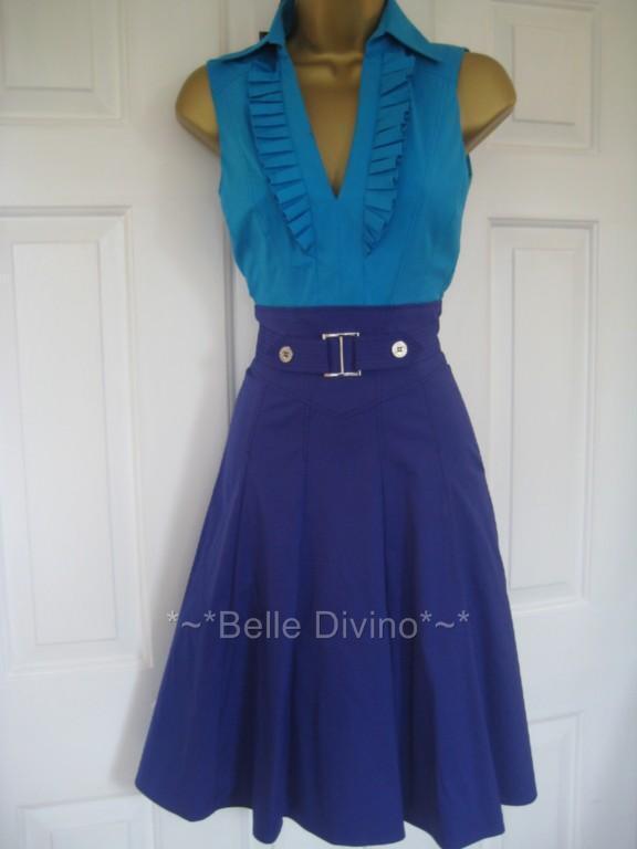 DG143 DG143 DG143 Karen MiIlen BNWT Turquoise & bluee 1950s Belted Shirt Dress 603e0e